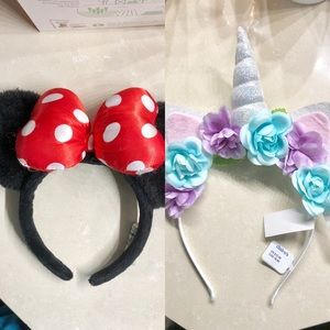 🖤 Two Girl's Headbands - Minnie Mouse, Unicorn